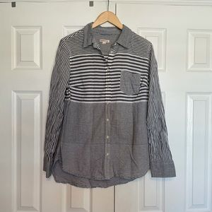 Merona Gray Striped Button Down